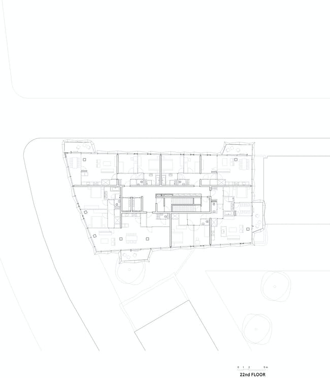 E' Tower Top floor plan. Image: Wiel Arets Architects