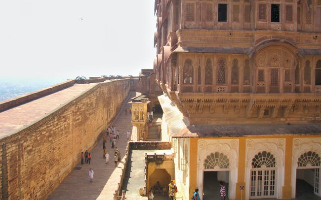 Mehrangarh's cannon- topped ramparts and the adjacent palace