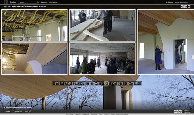 Screen shot of the Google Cultural Institute's 'The Restoration of Alvar Aalto Library in Vyborg.'