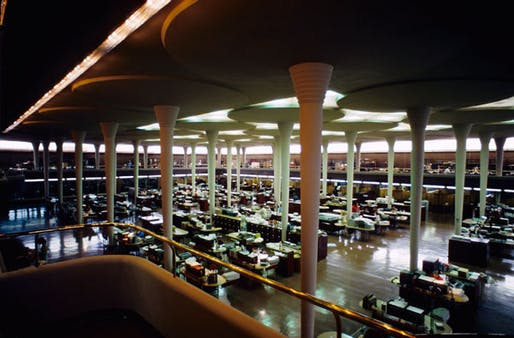 Interior, 'Great Workroom', of the Johnson Wax Headquarters building—the project referenced in Wright's letter to Truslow. Image via Wikipedia.