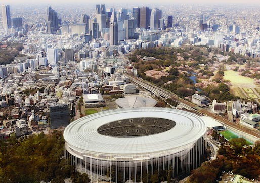 Bird's eye view of the proposed Tokyo Olympic Stadium (Image: MenoMenoPiu Architects & FHF Architectes)