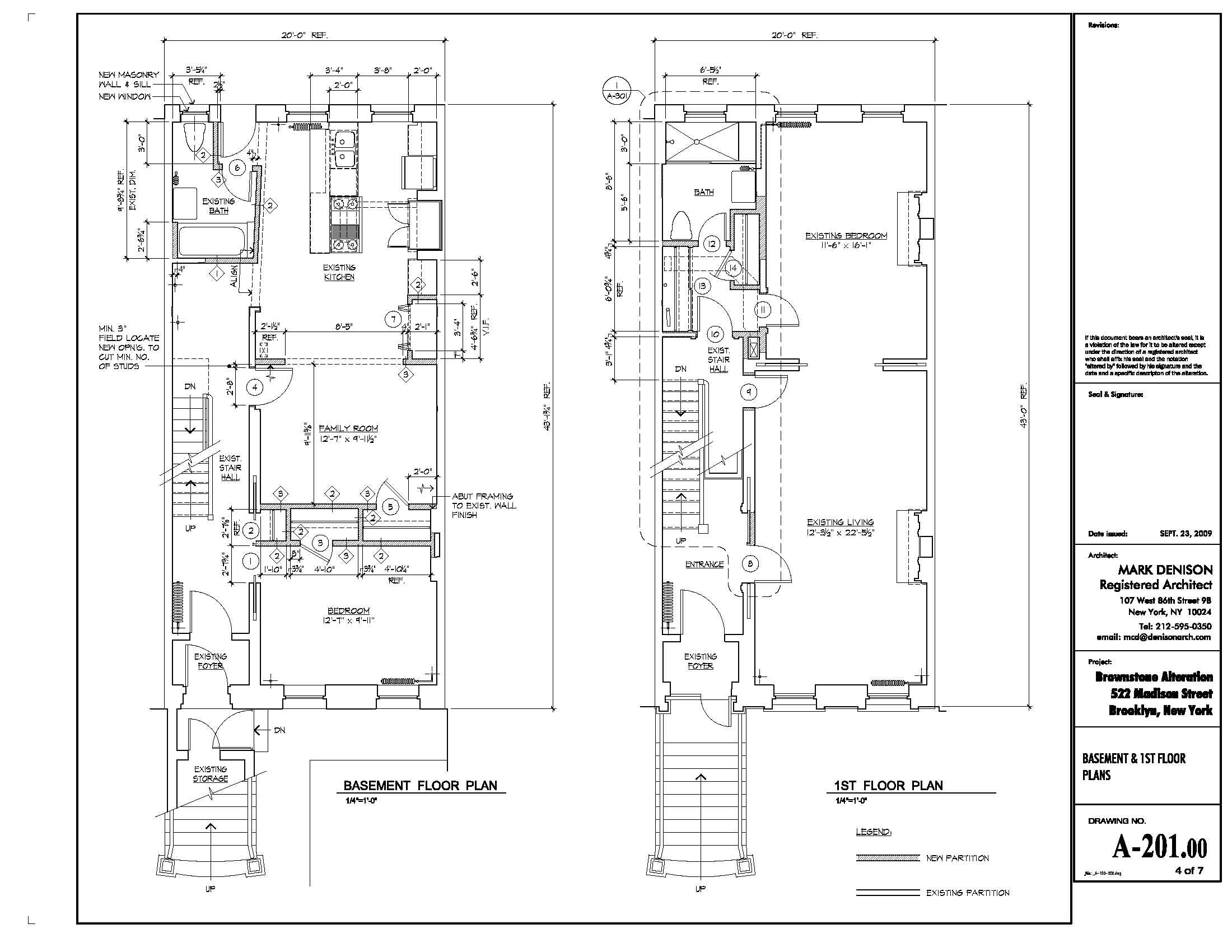 brownstone alteration mark denison archinect basement first floor plans