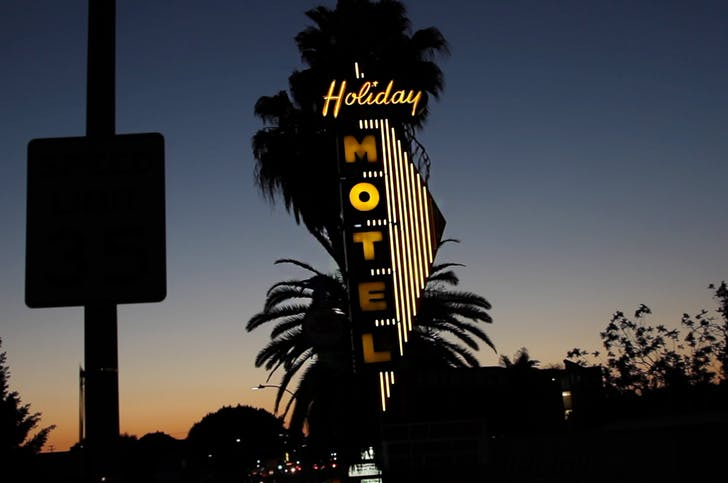 A photograph of the motel's classic sign during last year's event. Image credit: One-Night Stand LA.