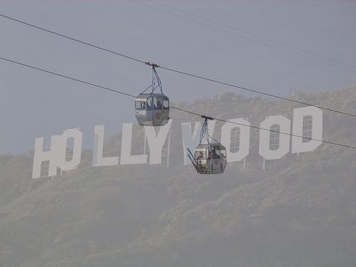 Could a gondola lift be the new way to see the Hollywood sign? Photo collage by Archinect