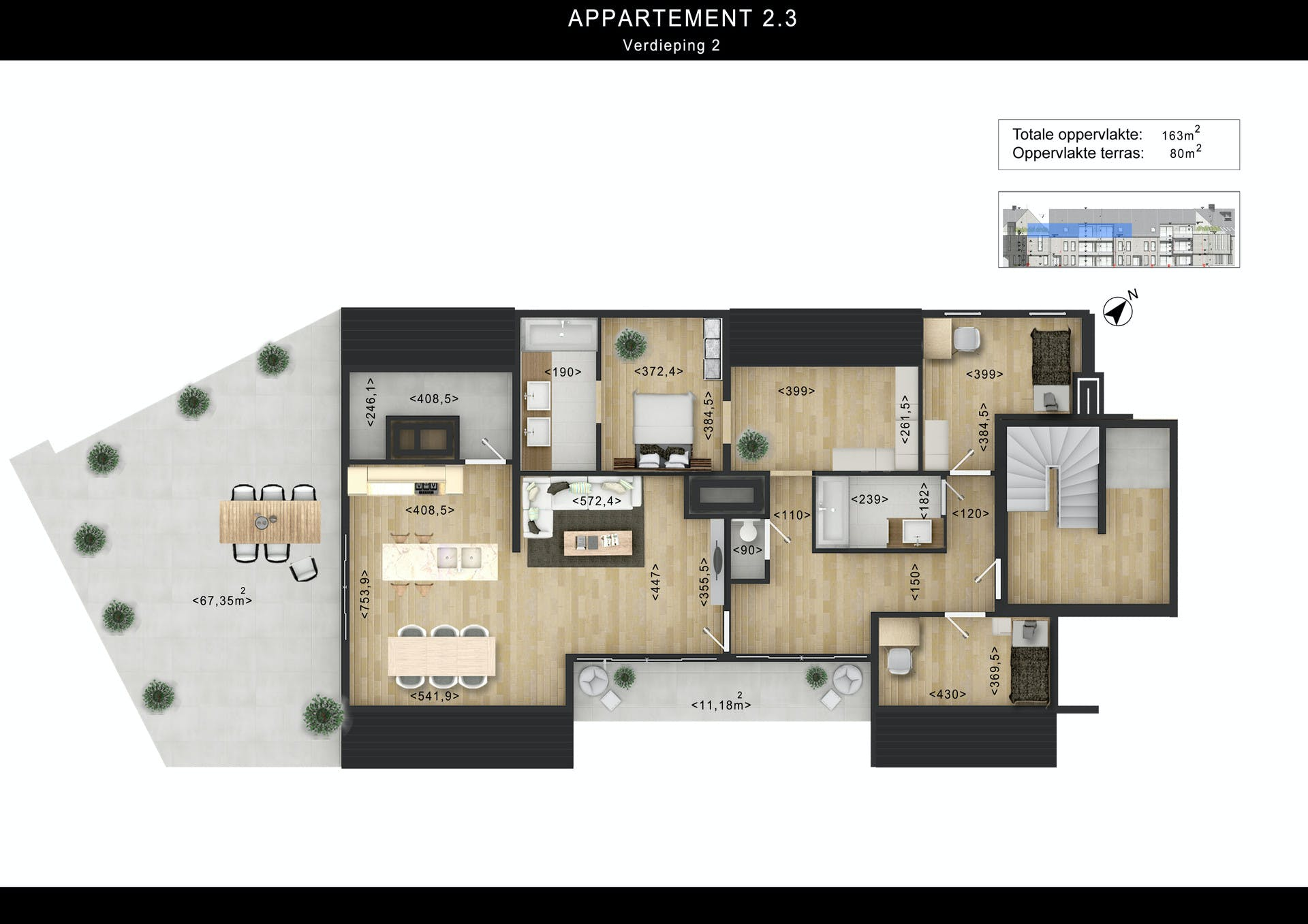 Ground Floor Elevation With Staircase : D floor plan design rendering with custom texture