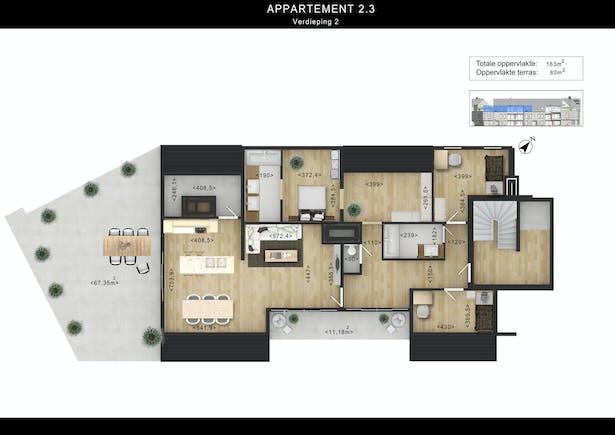 2D Floor Plan Design Rendering with Custom Texture Furniture