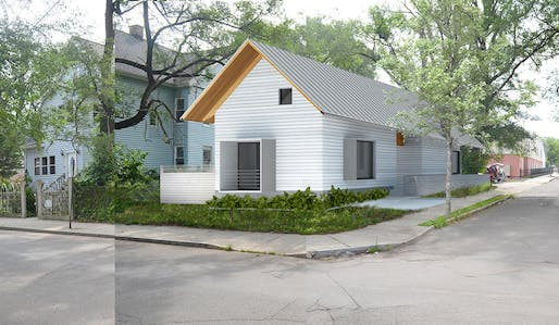 A rendering of the two-family house on Adeline Street in New Haven. Picture courtesy of the Yale School of Architecture.