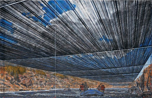 "A drawing of the proposed ""Over the River"" project. Image: Andre Grossman's photo of Christo's 2012 drawing"