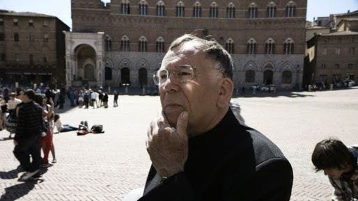 Jan Gehl at Piazza del Campo in Siena from the 2012 film, 'The Human Scale'. Photo via Metropolis.