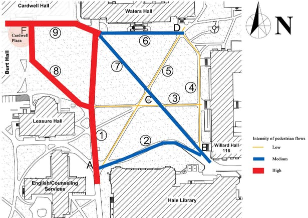 Intensity of pedestrian flows in the North Quadrangle