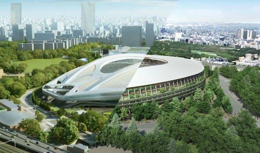 Zaha Hadid's original design for the Tokyo Stadium vs Kengo Kuma's design.