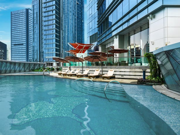 Evergrande Huazhi Plaza, Chengdu, China, by Aedas - Outdoor swimming pool of The St. Regis Chengdu