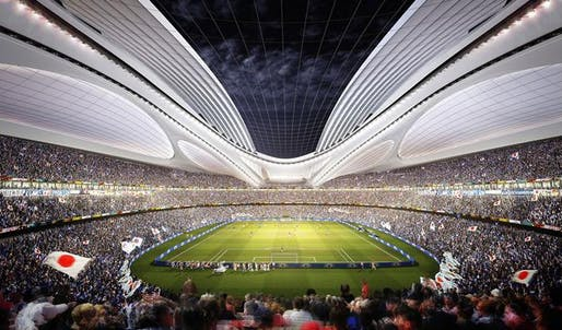 Zaha Hadid Architects' designs for Japan's national stadium (via bdonline.co.uk)