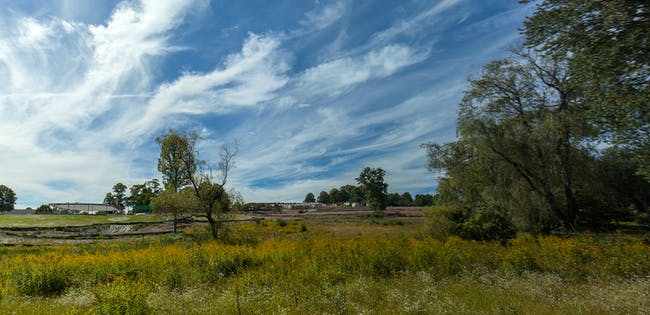 Under construction - The Grace Farms 'River' project by SANAA. Photo courtesy of Grace Farms. © 2014 Todd Eberle