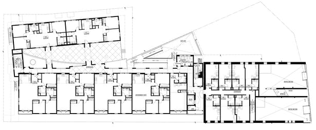 second floor plan showing the existing structure and addition