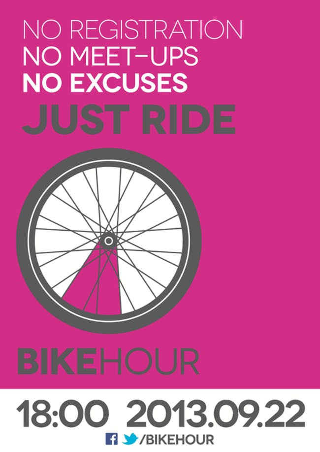 Advert for Fleming's 2013 'Bike Hour' awareness event, encouraging people to simply take a ride, wherever they are. Image via http-::iwanttoridemy.blogspot.com:2013:08:2013-bike-hour-ii-bikening.html