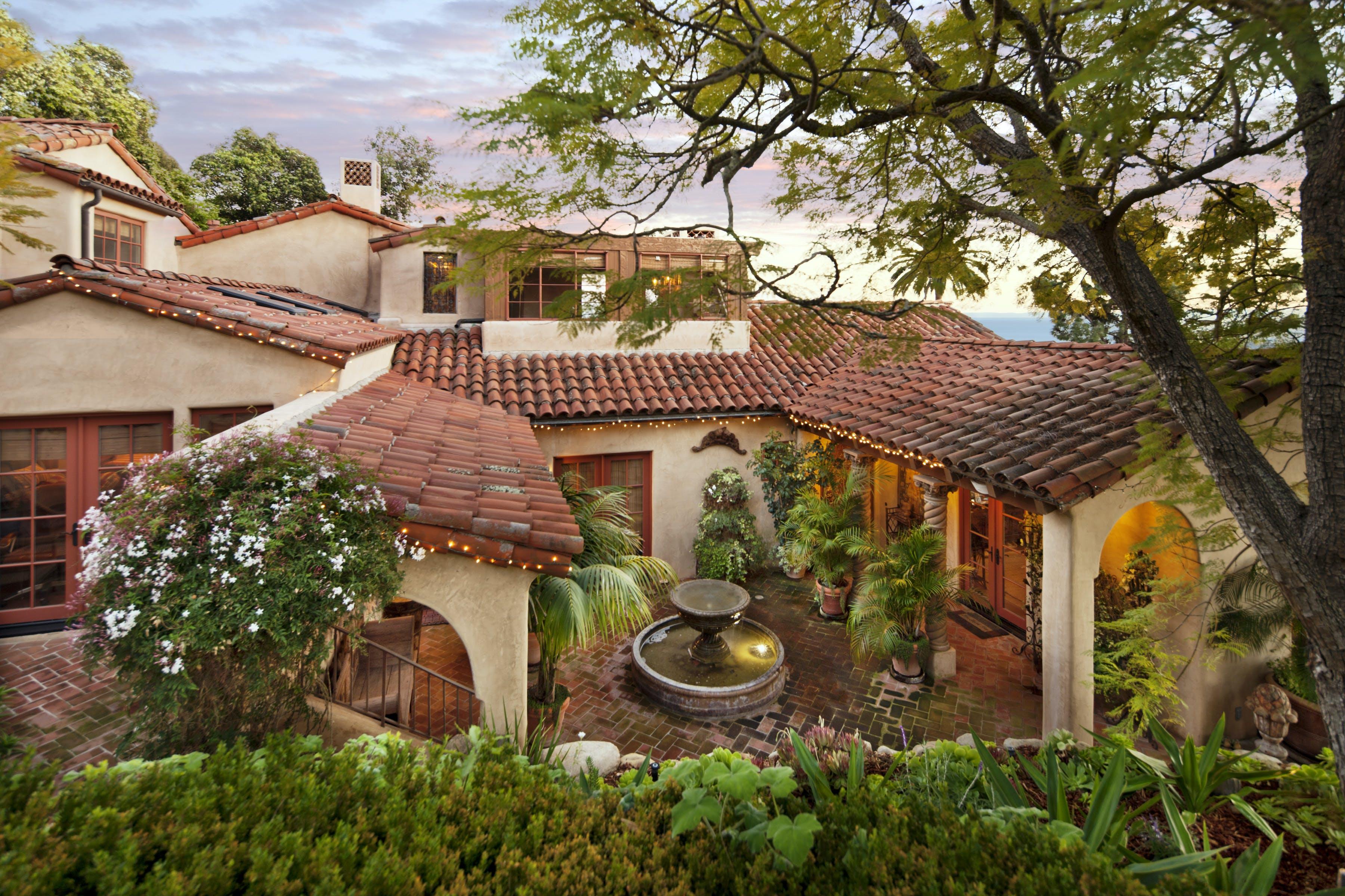 Romantic Retreat Warm Inviting Materials Stunning Courtyard