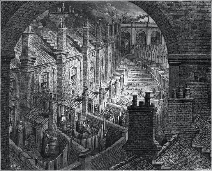 'Over London by Rail' by Gustave Doré depicts tenements in London during the Industrial Revolution.