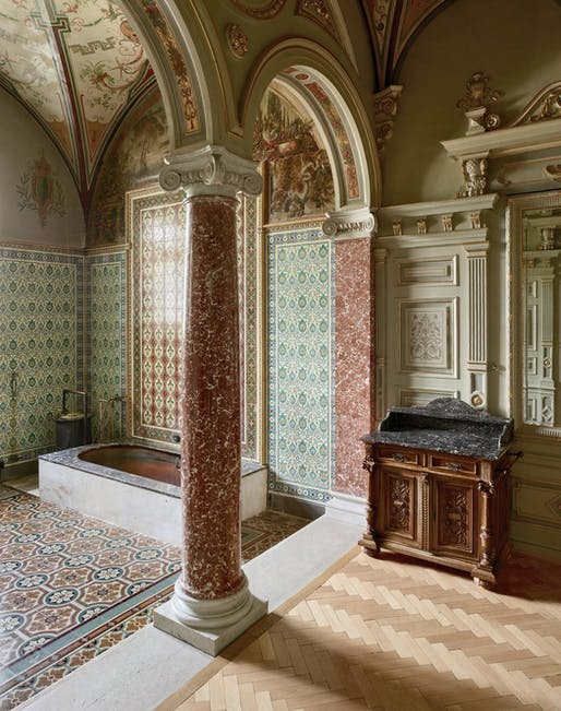 A private marbled soaking room in the neo-Classical Danubius Health Spa Resort Nove Lazne. Since its reconstruction in 1896, its healing waters have drawn everyone from King Edward VII to Franz Kafka. Located in the Czech Republic spa town of Marianske Lazne (more widely known by its German name...