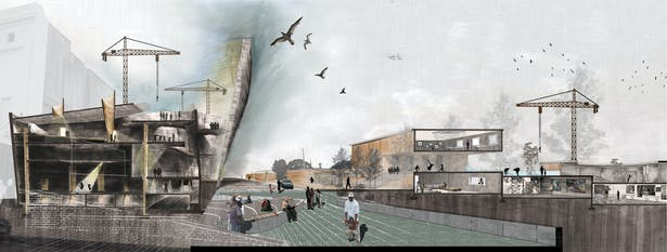 Enrich ground plane through verticality; clearing frontal buildings to create sunken amphitheater.