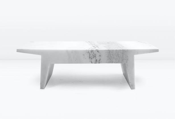 FELIX BENCH: Single slab of hewned Statuary marble.
