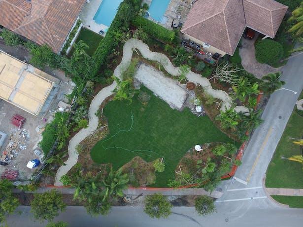 Aerial photo of park before groundbreaking for pergola.
