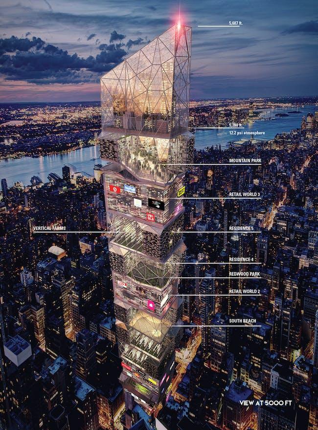 Times Squares Skyscraper - Honorable Mention 2015 Skyscraper Competition. Blake Freitas, Grace Chen, Alexi Kararavokiris