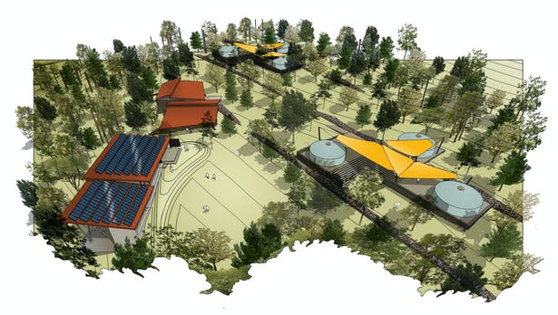 Architectural rendering of 'eco-village' - aerial view