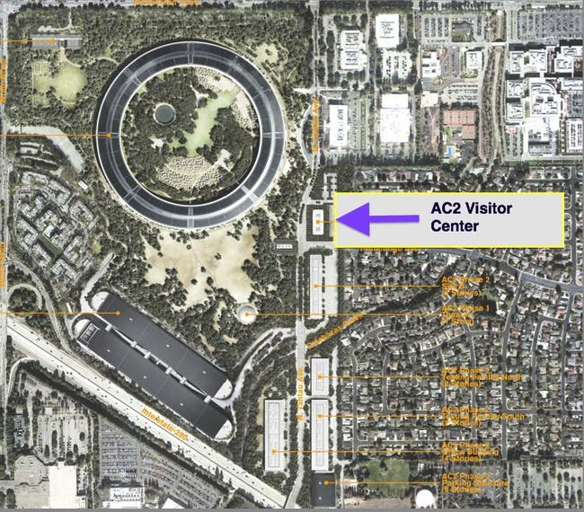 Location map of the proposed Apple Campus 2 visitors center. (Image via bizjournals.com)