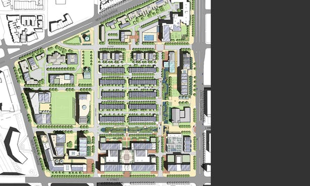 Site-plan for the neighborhood, showing the axial wetlands meeting at the community center.