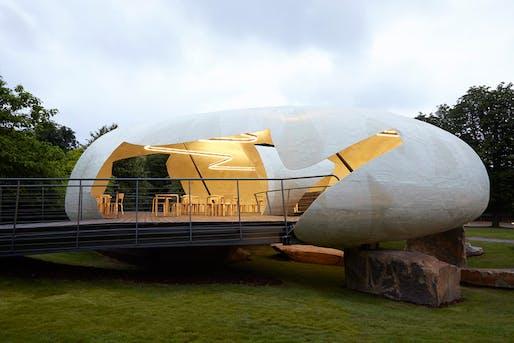 Serpentine Pavillon Gallery by Smiljan Radic, winner of the Arnold W. Brunner Memorial Prize. Image: John Offenbach.