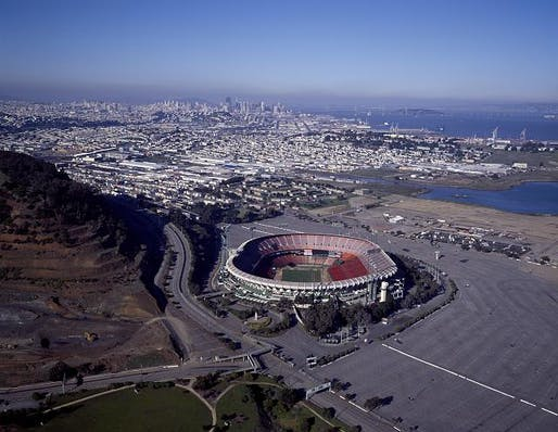 "Candlestick Park in San Francisco, one of the sites featured in ""Around the Bay"". Image courtesy of the Library of Congress."