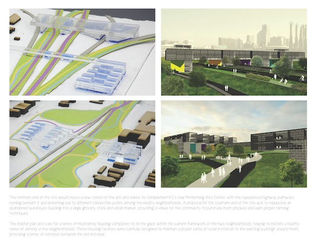 Top Left and Right: New school for the arts in both model and render form. Bottom Left and Right: New urban housing development in both model and render form.