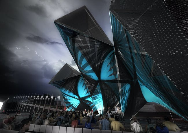 Rendering of the competition-winning SCI-Arc Graduation Pavilion 'League of Shadows' by P-A-T-T-E-R-N-S (Image: P-A-T-T-E-R-N-S)