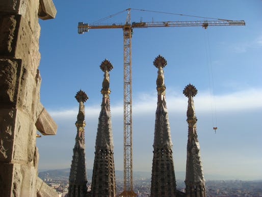 Cranes towering over the still-unfinished Sagrada Familia in 'Sagrada: the Mystery of Creation.' Credit: First Run Features