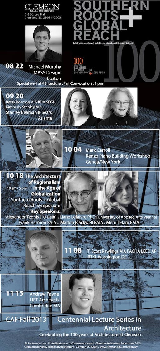 Poster for the Centennial Lecture Series at Clemson School of Architecture. Image courtesy of Clemson School of Architecture.