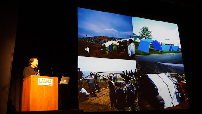 Ban discussing the Rwandan genocide, which was the first site for one of his humanitarian projects. In the bottom right is one of his prototype housing units at the Vitra campus. Credit: Nicholas Korody