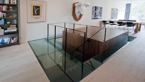 wooden cube with glass floor - ground floor