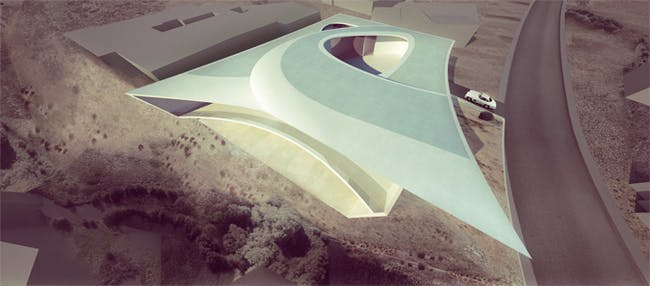 A rendering of Zaha's proposed home in San Diego via The Architects Newspaper