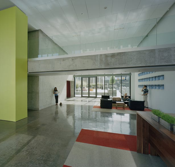 Residential lobby leading out to the pool area.