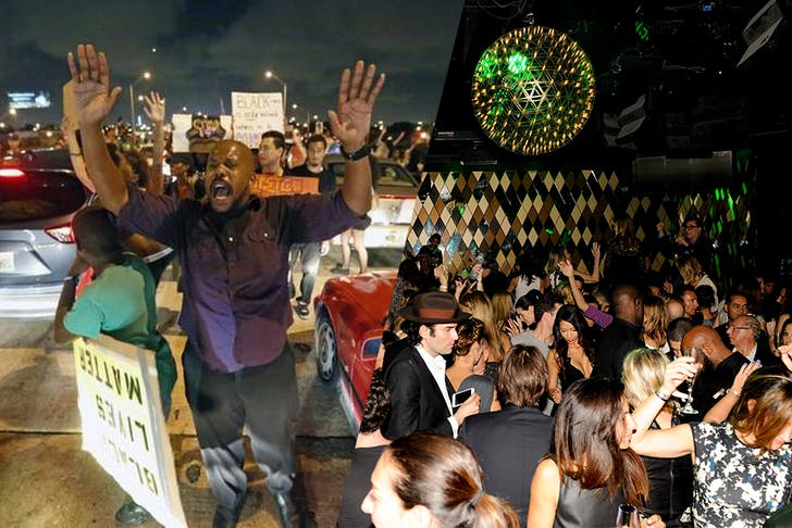 A tale of two cities: Protestors shutting down the I-195 in Miami protesting police brutality and a Dom Perignon-hosted party for ABMB-goers. Credit: Al Diaz / Miami Herald ; Billy Farrell / the Observer (resp.)