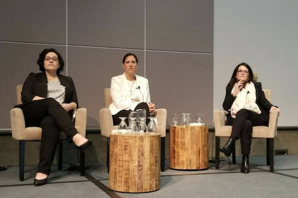 Daniela Coray, a BAC MLA student, Lina Ecobar Ocampo, instructor at Universidad Pontificia Bolivariana (UPB), and María Bellalta, dean of the School of Landscape Architecture at the BAC, present at the Annual ASLA Meeting and Expo in Los Angeles