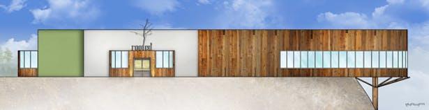 Lotus Wellness Community Exterior Elevation - West: AutoCAD, Adobe Photoshop