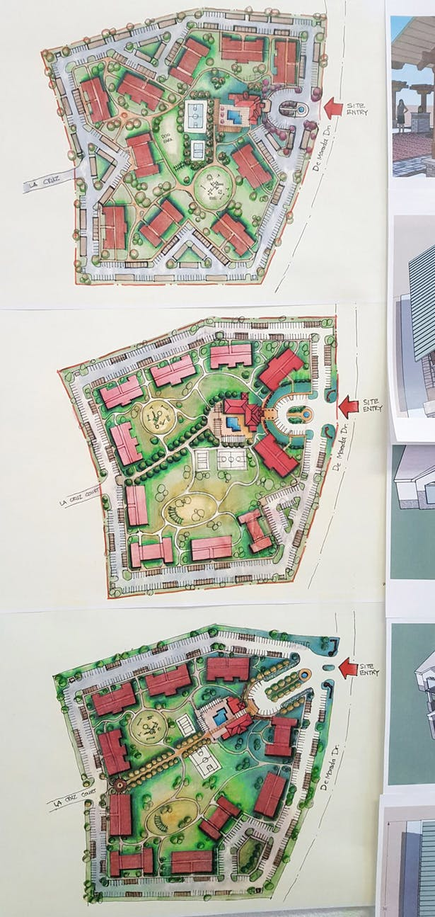 # stories apartment Site Plan study. Different arrangement of Park Legado apartment building to maximize building count as well as creating spaces between building for occupants. Odessa, TX