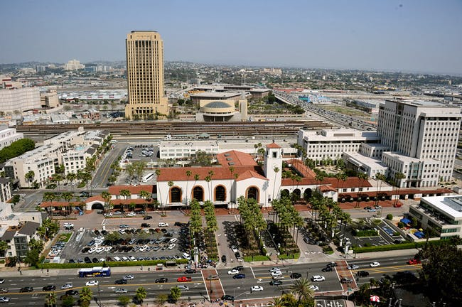 Aerial shot of Los Angeles Union Station (Photo: Gary Leonard)
