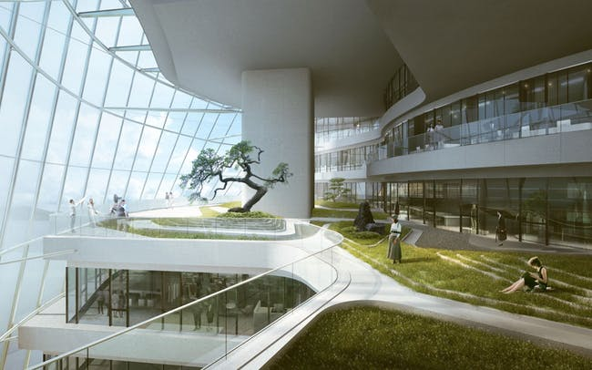 Green with energy: inside MAD's Xinhee Design Center. Image: MAD Architects
