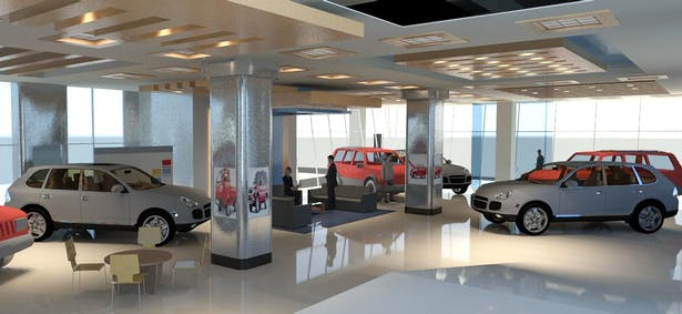 TATA vehicle showroom in the Building