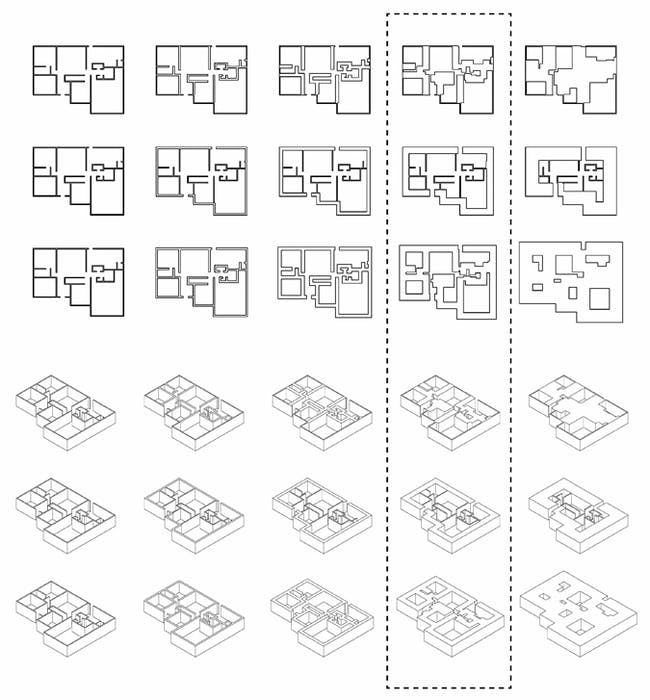 Growth Series: This series looks at the expansion of the suburban house through various methods and increments. These tests explore the limit to which the suburban house can grow before it meets its threshold, or 'moment of explosion.