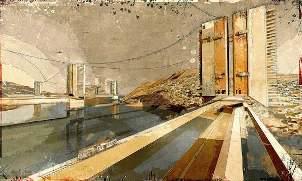 The Hydro-City Settlement', digital media on paper, [2008] 60'x40'