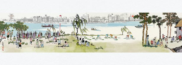 Historic scroll painting of Sanlin waterfront © TLS